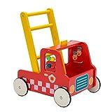 Holz Lauflernwagen für Baby Mit einem Feuerwehrauto als Modell,2-in-1 Push & Pull-Spielzeug,Kinder-multifunktionswagen,Geeignet für 1-3 Jahre altes Baby