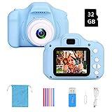 F Kinderkamera Digital Kamera Mini Kamera 2.0 Zoll HD 1080P Bildschirm Kamera Video Spiel Multifunktion mit 32GB SD Karte USB Ladekabel (Blau)