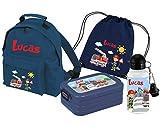 Mein Zwergenland Set 5 Kindergartenrucksack Classic und Brotdose Lunchbox Maxi, Turnbeutel + Trinkflasche mit Name Feuerwehr, 4-teilig, Navy