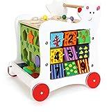 small foot 7393 Lauflernwagen 'Bär' aus Holz, 5-seitiger Spielspaß, zur Förderung motorischer Fähigkeiten, ab 1 Jahr