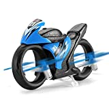 EACHINE E021 Mini Motorrad Drohne Racing 2-In-1 Land/Air Modi,Fliegendes Motorrad 2.4G,Ferngesteuerte Motorrad Drohne für Kinder, RC Multifunktional Motorrad Geschenk - Zwei Batterien