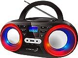 Tragbarer CD-Player | LED-Discolichter | Boombox | CD/CD-R USB Player | FM Radio | AUX-In | Kopfhöreranschluss | 20 Speicherplätze | Kinder Radio | CD-Radio | Kompaktanlage