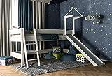 XXL Discount Kinderbett mit Rutsche Weiß, Hochbett Spielbett, Absturzsicherung & Leiter, Liegefläche 90 x 200 cm, 100% Buche Massiv