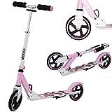 Best Sporting Scooter 180er Rolle, höhenverstellbarer Kinder-Roller 80 - 85 - 90 cm aus Alu, Kickscooter mit Ständer, Farbe: rosa/weiß