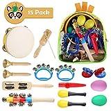 MVPower Musikinstrumente Kinder 15Stück Rhythm Toys Percussion Set Früherziehung Musik Kinderspielzeug Kleinkinder Holz Instrumentenset für Kinder mit Tragetasche(Rhythm Toys Set)