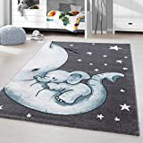 HomebyHome Kinderteppich Kurzflor Elephant Kinderzimmer Babyzimmer Grau Blau Meliert, Größe:120x170 cm