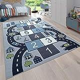 Paco Home Kinder-Teppich, Spiel-Teppich Für Kinderzimmer, Hüpfkästchen und Straßen, Grau, Grösse:140x200 cm