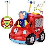 GotechoD Ferngesteuertes Feuerwehrauto Auto mit Fernbedienung, Spielzeugauto ab 2 Jahren Feuerwehrauto mit Sirene und Licht