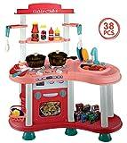 Dominiti Spielküche XXL Little Chef mit viel Zubehör / Sound & Licht Spielzeugküche für Kinder ab 3 Jahren