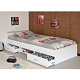 Funktionsbett Alawis 90 * 200 cm weiß inkl 2 Roll-Bettkästen Kinderbett Jugendbett Jugendliege Bett Jugendzimmer Kinderzimmer Bettliege