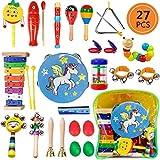 Yetech 27 Stück Musikinstrumente Musical Instruments Set, Holz Percussion Set Schlagzeug Schlagwerk Rhythm Toys Musik Kinderspielzeug für Kleinkinder und Baby