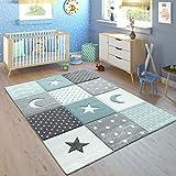 Paco Home Kinderteppich Pastellfarben Kariert Punkte Herzen Sterne Weiß Grau Blau, Grösse:80x150 cm