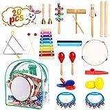 Ohuhu Musikinstrumente Kinder, 20 Stück Musikalische Instrucments, Kleinkind-Musik-Spielwaren, Xylophon, Trommel Rhythmus-Percussions-Set für Baby-Kind-Kind-Jungen-Mädchen