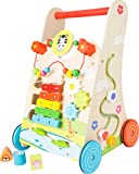 Small Foot 10606 Lauflernwagen Blumenwiese, Holz mit vielseitigem Spielspaß für Kinder ab 2 Jahren Spielzeug