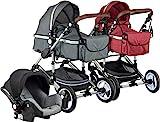 ib style SOLE 3 in 1 Kombi Kinderwagen | inkl. Auto Babyschale | Zusammenklappbar |0-15kg |2 Farben