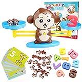 BBLIKE Montessori Mathe Waage Spielzeug, Zählen und Rechnen, Cartoon Tier AFFE Balance/Geschicklichkeit Spielzeug Lernspielzeug mit Waage und Zubehör für Kinder ab 3 Jahhre Alt