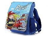 Kinderrucksack Feuerwehr in blau mit Name Bedruckt ideal für Kita/Kindergarten Kindergartenrucksack