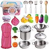 Juboury Küchenspielzeug Zubehör Kinderküche Kochgeschirr Edelstahl Pfannenset Schürze und Kochmütze für Mädchen und Jungen