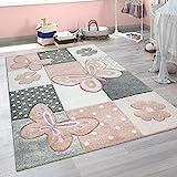 Paco Home Kinder Teppich Kinderzimmer Bunt Rosa Schmetterlinge Karo Muster Punkte Blumen, Grösse:80x150 cm