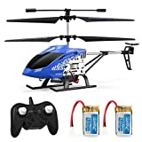 JJRC JX01 Rc Hubschrauber 3.5 Kanäle Höhe halten Helikopter mit Gyro 2.4GHz und LED Licht für Innen- RTF Antikollision Mini Helikopter RC Spielzeug Geschenk für Kinder und Erwachsene (Blau)
