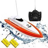 Rabing RC Boot für Pools und Seen - HY800 Rennboote 2, 4 GHz 15 km/H Hochgeschwindigkeits-Fernbedienungsboot für Kinder Erwachsene Jungen Mädchen (Funktioniert nur im Wasser)