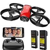 SANROCK U61W Drohne für Kinder mit Kamera, 2 Batterien, APP und Fernbedienung 720P HD FPV Quadcopter, Intelligente Bedienung Höhenlage halten, Headless-Modus, Start / Landung mit Einer Taste, Not-Aus.