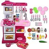 deAO Kinder-Küchenspielset 'My Little Chef'('Mein kleiner Koch') mit 30-teiligem Zubehör in den Farben Rot oder Pink erhältlich