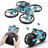 2 in 1 Faltbare RC Drohne mit Kamera und Motorrad Wi-Fi Live Video EIN Schlüssel Zurück Höhe Halten Headless Modus Spielzeug Geschenk für Kinder Erwachsene