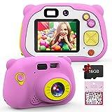 Mansso Kinderkamera Digitalkamera HD Digital Kamera für Kinder Robuste Kids Camera 1080p Videokamera 2,0 Zoll Farbdisplay mit 16 GB Speicherkarte und USB Kabel