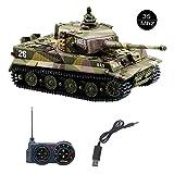 YouCute Mini RC Panzer mit USB Ladekabel Fernbedienung Panzer Panzer 1:72 Deutscher Tiger I mit Sound, Rotierendem Revolver und Rückstoß Aktion mit deutsches Handbuch 35MHz(Khaki)