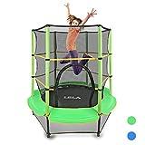 LBLA Trampolin Kinder Ø 140 cm Indoortrampolin Jumper mit Sicherheitsnetz, Randabdeckung Kindertrampolin Gartentrampolin Außentrampolin für Junge Mädchen ab 4 5 6 Jahren (Blau)