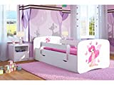 Kocot Kids Kinderbett Jugendbett 70x140 80x160 80x180 Weiß mit Rausfallschutz Matratze Schublade und Lattenrost Kinderbetten für Mädchen und Junge - Fee mit Schmetterlingen 180 cm