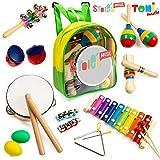 Tomi Music - 18 teiliges Musikinstrumente Set für Kleinkinder, Vorschulkinder, Kinder und Babys - Holzschlaginstrumente für Spiel und Rhythmus, Xylophon, Trommel - fördert die frühe Entwicklung