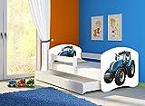 Clamaro 'Fantasia Weiß' 140 x 70 Kinderbett Set inkl. Matratze, Lattenrost und mit Bettkasten Schublade, mit verstellbarem Rausfallschutz und Kantenschutzleisten, Design: 42 Traktor